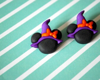 Halloween Minnie Mouse Earrings -- Witch Minnie Mouse, Mouse Ears, Halloween Earrings