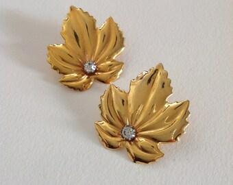 Vintage gold  Rhinestone Leaf Earrings