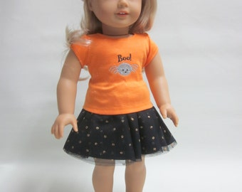 Halloween Trick or Treat Outfit   18 inch  Girl Doll Tulle Mesh Skirt and T-Shirt