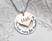 Mother's Day Gift - The Best Moms Get Promoted To Grandma - Grammy Mimi Nana Custom Kids Grandkids Copper Necklace - Engraved Jewelry