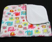 Bright Elephant Burp Cloth, Baby Burp Cloth, Flannel and Terry Cloth Burp Rags