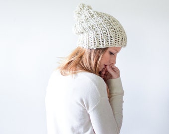 chunky knit womens slouchy hat beanie pom hat - wheat - the WINDSOR