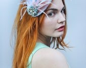 Teardrop Pastel Fascinator with Floral Brooch Detail and Feathers