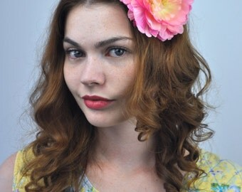 Flower Hair Clip Fascinator in Pink, Coral and Yellow