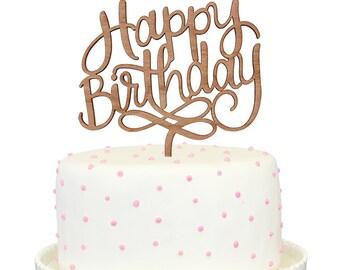 Happy Birthday Calligraphy Cherry Wood Cake Topper