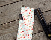 Coral, Mint & Gold Confetti  print Travel Flat Iron Cover, Curling Iron Case, Hot Iron Case