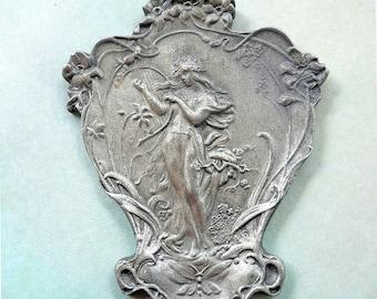 30% OFF Vintage Art Nouveau Goddess Pendant - Harp Player, Muse of Music, Nouveau Girl Pendant - Alphonse Mucha Style