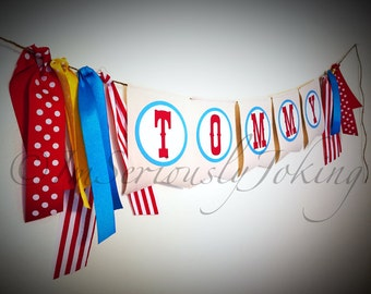 Circus Banner - Party Banner- Bunting- Gray Chevron- Little Man Party- Gender Reveal Party- Baby Shower