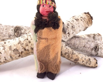 Vintage Native American Doll 5 Inch Celluloid Skookum-Like Indian Doll