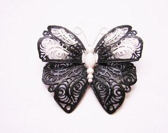 Large Monet Black & White Butterfly Brooch / Filigree / Enamel / Designer Signed / Vintage Jewelry / Jewellery