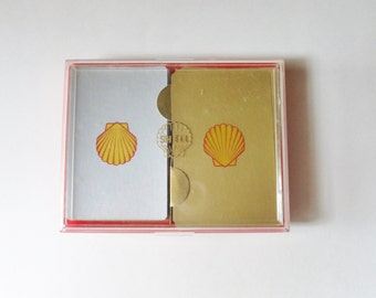 Shell Oil Playing Cards, Double Deck of Cards in Plastic Case, Shell Oil Memorabilia