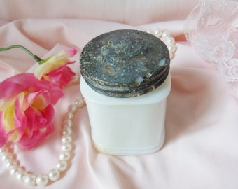 French Cold Cream Jar, Antique Milk Glass Cosmetics Jar with Coat of Arms Lid, Victorian Face Cream Jar