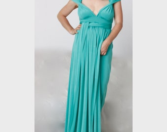 Wrap Convertible Dress / Imperial Green Multy Way Wedding Dress / Infinity Wrap Dress/ Green Nylon Spandex Dress