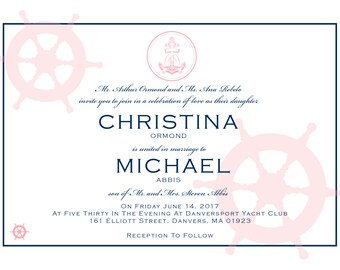 5x7 Nautical Wedding Invitations, Response Cards & Envelopes (WED8)