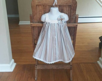 Boutique Dress. One-of-a-Kind Dress(size 2T) and Bloomers--Made from 100% cotton men's shirts