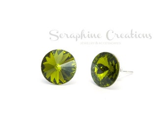 Olive Green Earrings Swarovski Rivoli Crystal Olivine Earrings Sparkly Bridal Bridesmaid Gift Bridal Bridesmaid Jewelry Dark Green K010