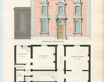 Antique Architecture Print. Design for A Town House Date C1855. Detailed Elevation and Plan. Perfect Antique Gift For Architect or Builder