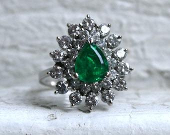 Stunning Vintage Emerald and Diamond Halo Engagement Ring - 3.18ct.