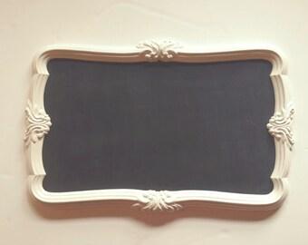 Ornate Framed Chalkboard Mirror, Large Vintage Blackboard Reversible, Wedding Shabby Chic, Creamy White