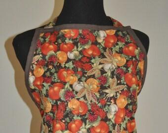 Apron, Kitchen apron, Fall Apron, Thanksgiving Apron, Chevron Fall apron, Women's Full apron in Fall print, hostess apron, pumpkin apron