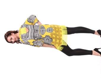 Tango Dress in Art Deco Black White Yellow Print, OOAK Tango Clothes, Tango Tunic with Frill, Tango Clothing for Her