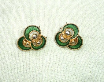 Green & Gold Wingback Vintage Earrings - Signed