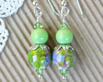 Lampwork Earrings, Lampwork Jewelry, Lampwork Bead Earrings, Green Pink and Purple Beads, Dangle Earrings, Sterling Silver