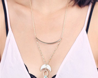 Crescent moon spike boho necklace