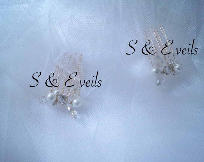 Hand made Brooches, hair accessories, small gold hair combs wedding veils (Veil Sold Separately)
