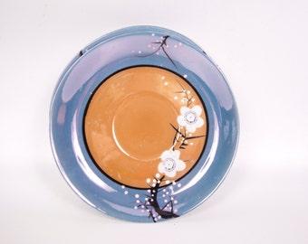 Vintage Cherry Blossom Saucers Japan Hand Painted Set of 5 Hotta Yu Shoten Co Lusterware