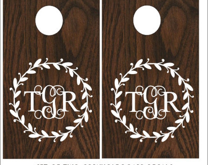 Monogram Cornhole Decals Corn Toss Decals DIY Rustic Wedding Decals Rustic Barn Wedding Decor Vinyl Decals Set of Two Personalized Wedding