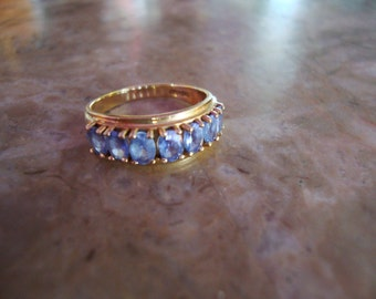 GENUINE TANZANITE 10K YELLOW Solid Gold 7 Oval Gemstone Line Band Ring Vintage 1990s Home Shopping Network Size 6