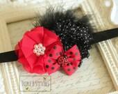 Ladybug Headband-Ladybug Hair Bow-Ladybug Birthday Bows-Red and black headband-Ladybug headband-Ladybug birthday party