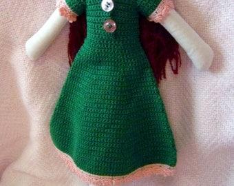 Emma, muslin doll, crocheted dress