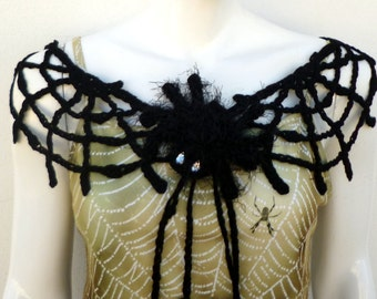 Black Spider Web Collar Lace Crochet Black Collar Necklace Gothic Home Decor Halloween Garland Halloween Home Decoration