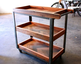 Industrial Bar Cart- Reclaimed Wood Serving Cart- Repurposed Modern Loft Furniture- Rustic Barware- Chevron Wood Trolley- FREE SHIPPING