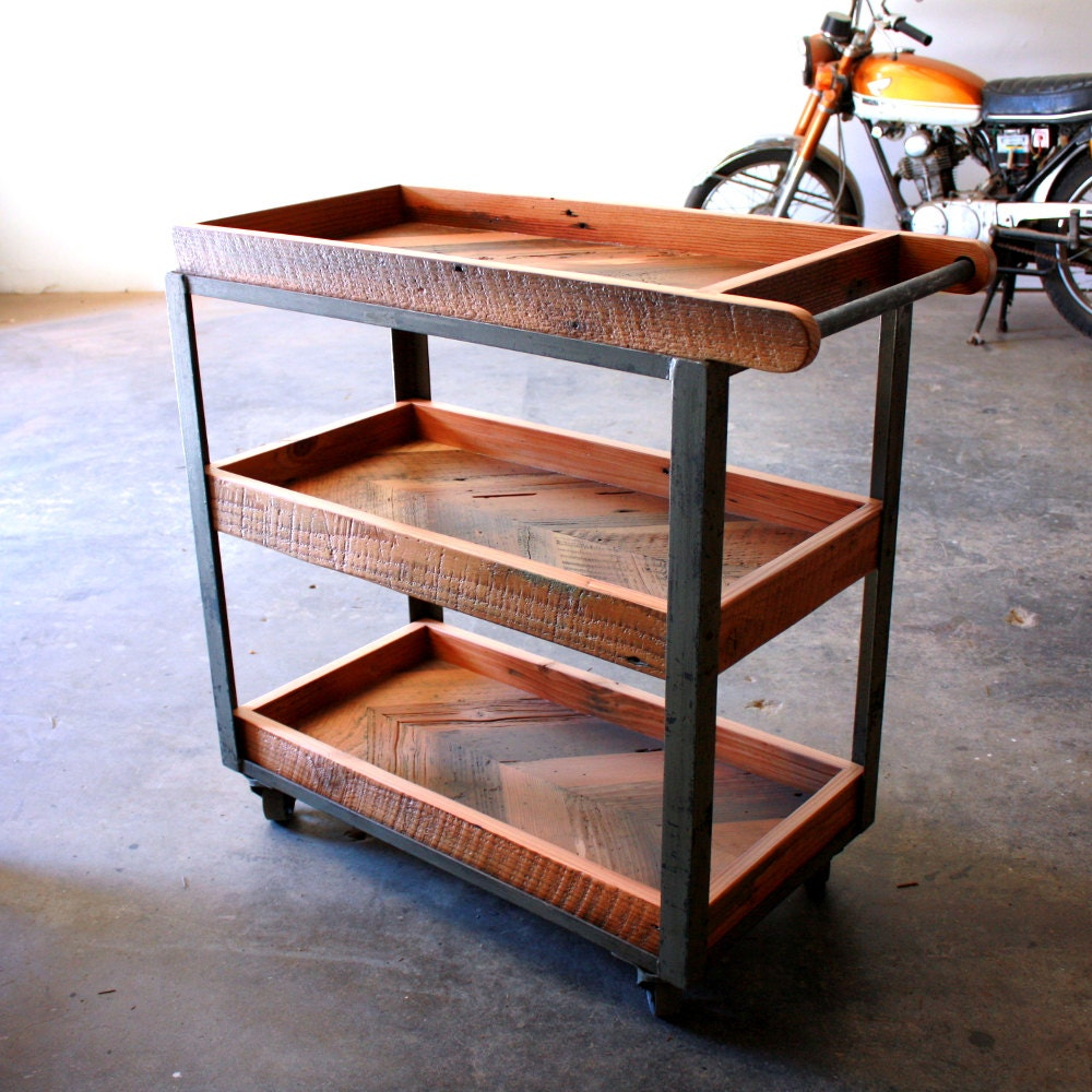 Wood Serving Cart ~ Industrial bar cart reclaimed wood serving rustic
