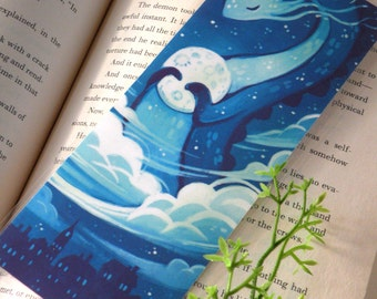 Moon Dragon Bookmark, Illustrated bookmark,  unique bookmarks