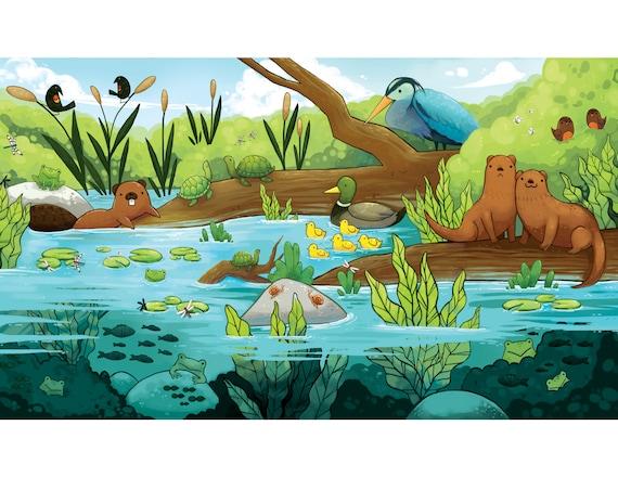 Pond and river ecosystem print children 39 s room artwork for Ecosistema dello stagno