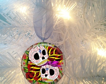 Sugar Skulls #1 Day of the Dead  Christmas Tree Ornament