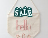 ON SALE - Hello pennant flag - home decoration - embroidered small flag