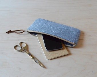 Zipper Clutch in Diamond Chambray - Pencil Case, Zip Pouch