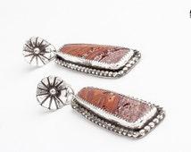 Pink rust Sonoran Scenic Jasper gemstone earrings in Sterling Silver - Pink tan red rectangle flower earrings - flower daisy drop earrings