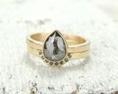 Black Diamond 14k Gold Engagement Ring