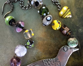 The Happiest Sparrow Necklace. Bird, Murano's glass beads, antique reconstructed, vintage assembled, repurposed,