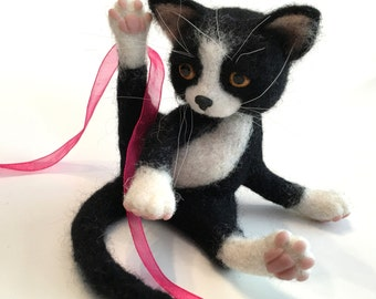 Black and White Cat, Kitten, Needle Felted Cat, Custom Order Only by Marina Lubomirsky