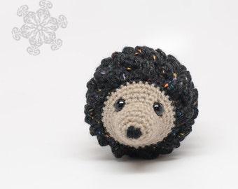 Speckled Black Hedgehog Stuffed Animal, Natural Toy