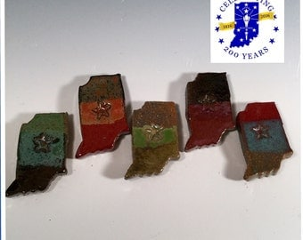 Pottery Indiana magnet - Ceramic state pride magnet - Indiana shape magnet - choose your color - ready to ship -ceramics -pottery -stoneware