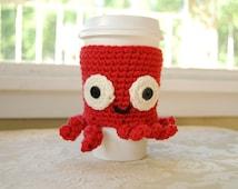 Octopus Coffee Cozy, Crocheted Coffee Cozy, Animal Coffee Cozy, Cute Octopus, Pink Coffee Cozy, Under the Sea, Cute Sea Creatures