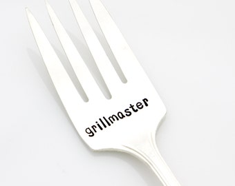 Serving Fork, Grillmaster. Hand Stamped Silverware, Vintage Meat Fork. Father's Day Gift by Milk & Honey ®